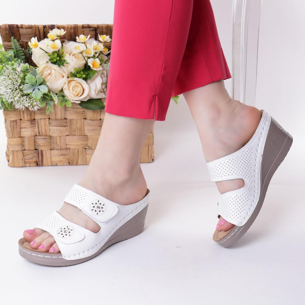 Papuci albi piele ecologica Levana