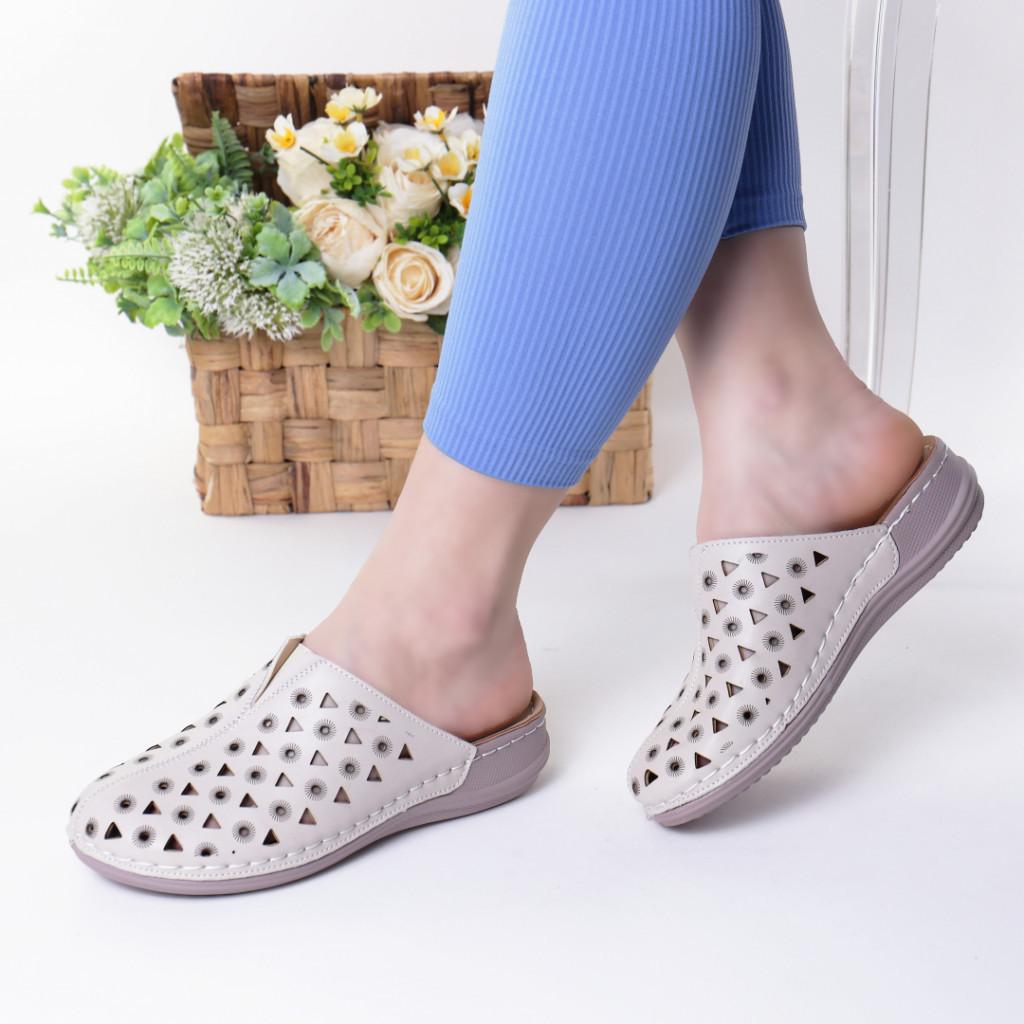 Papuci crem piele ecologica Elida