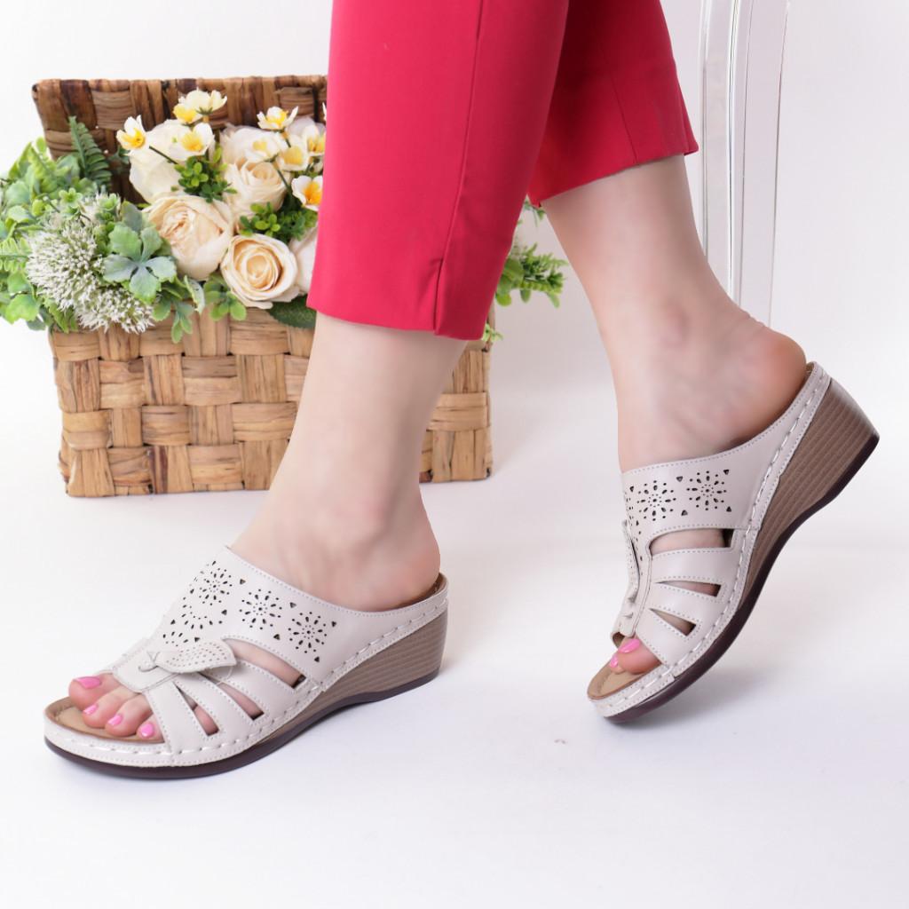 Papuci crem piele ecologica Lorita