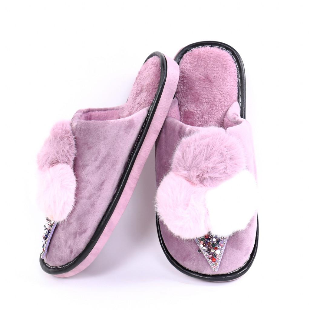 Papuci cu puf lila Parvi