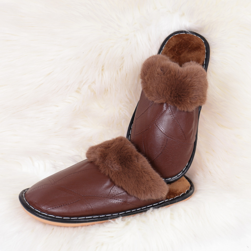 Papuci de casa cu blanita maro Ozgur