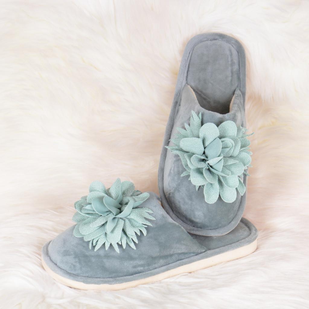 Papuci de casa verzi cu floare Zoly