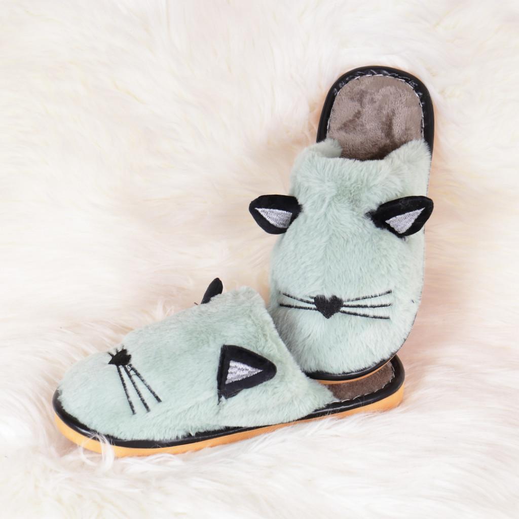 Papuci de casa verzi cu pisica Mita