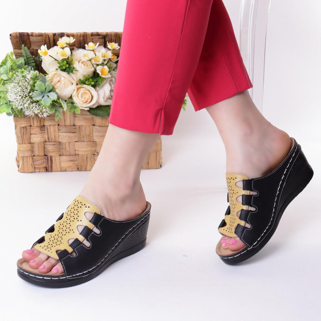 Papuci negri piele ecologica Alona
