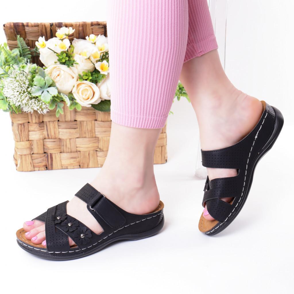 Papuci negri piele ecologica Gevira