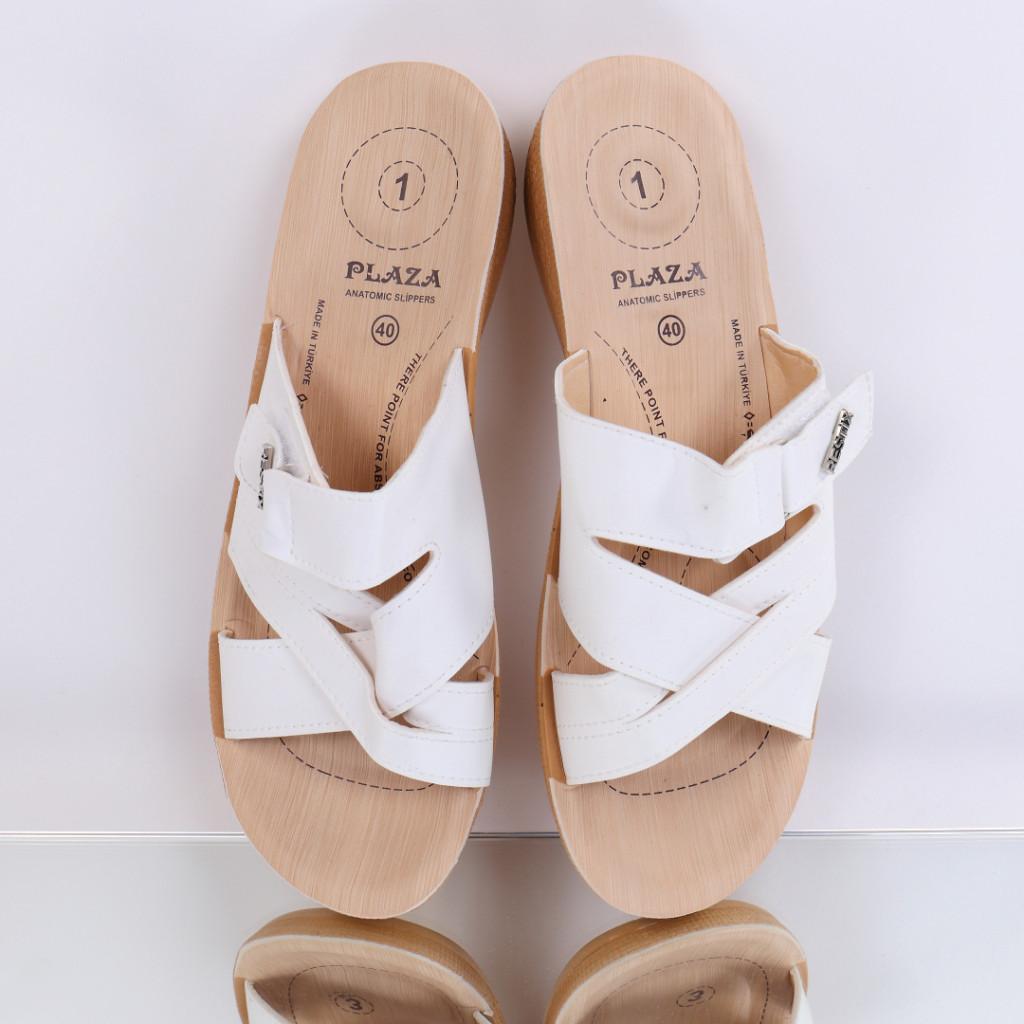 Papuci piele ecologica albi Justina