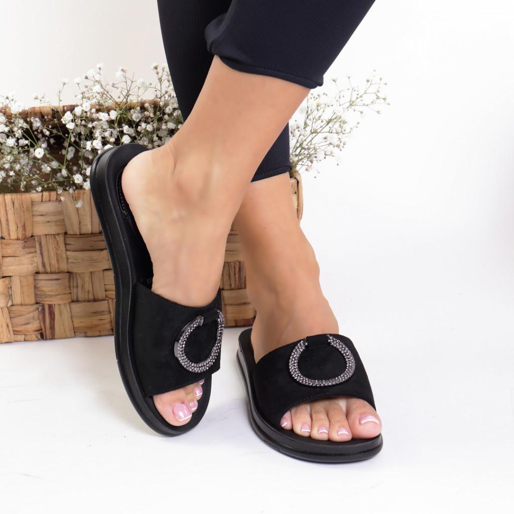 Papuci piele ecologica intoarsa negri Arancia