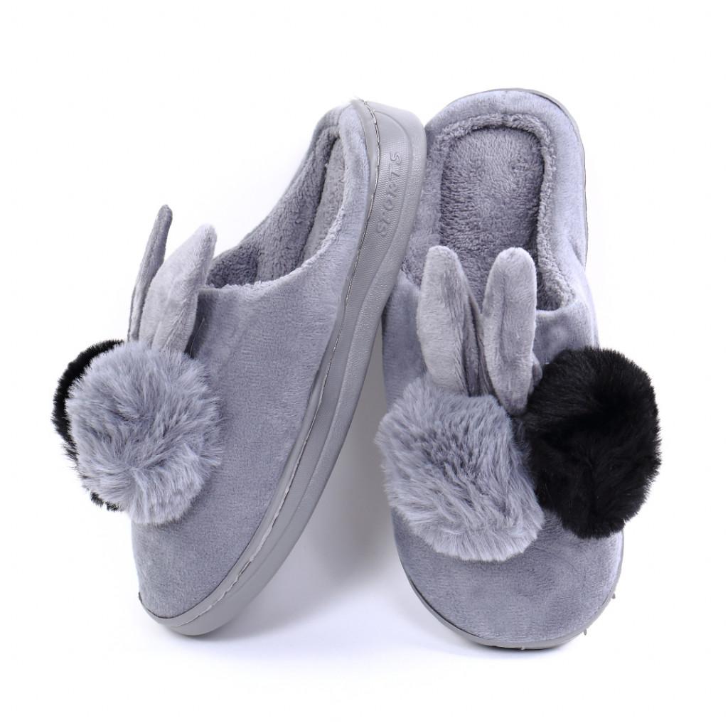 Papuci pufosi gri Rial