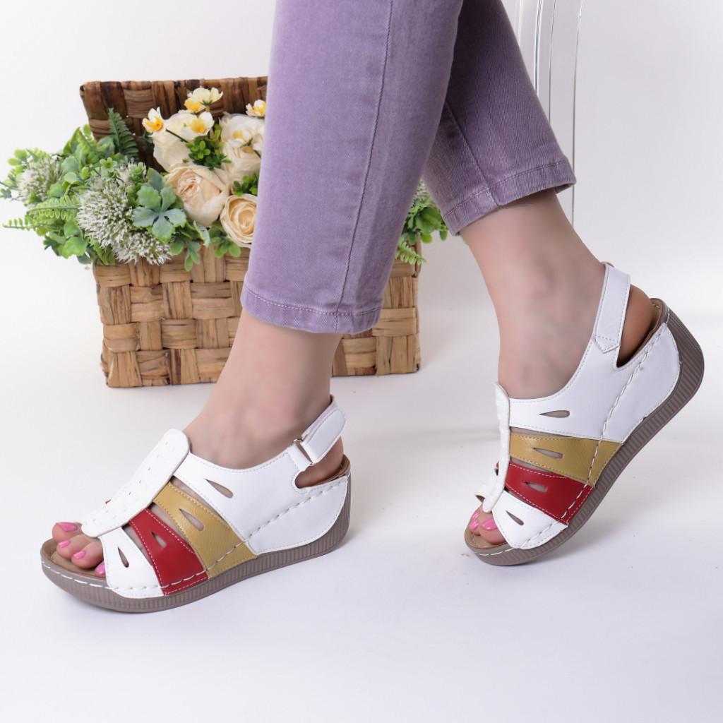 Sandale albe piele ecologica Nili