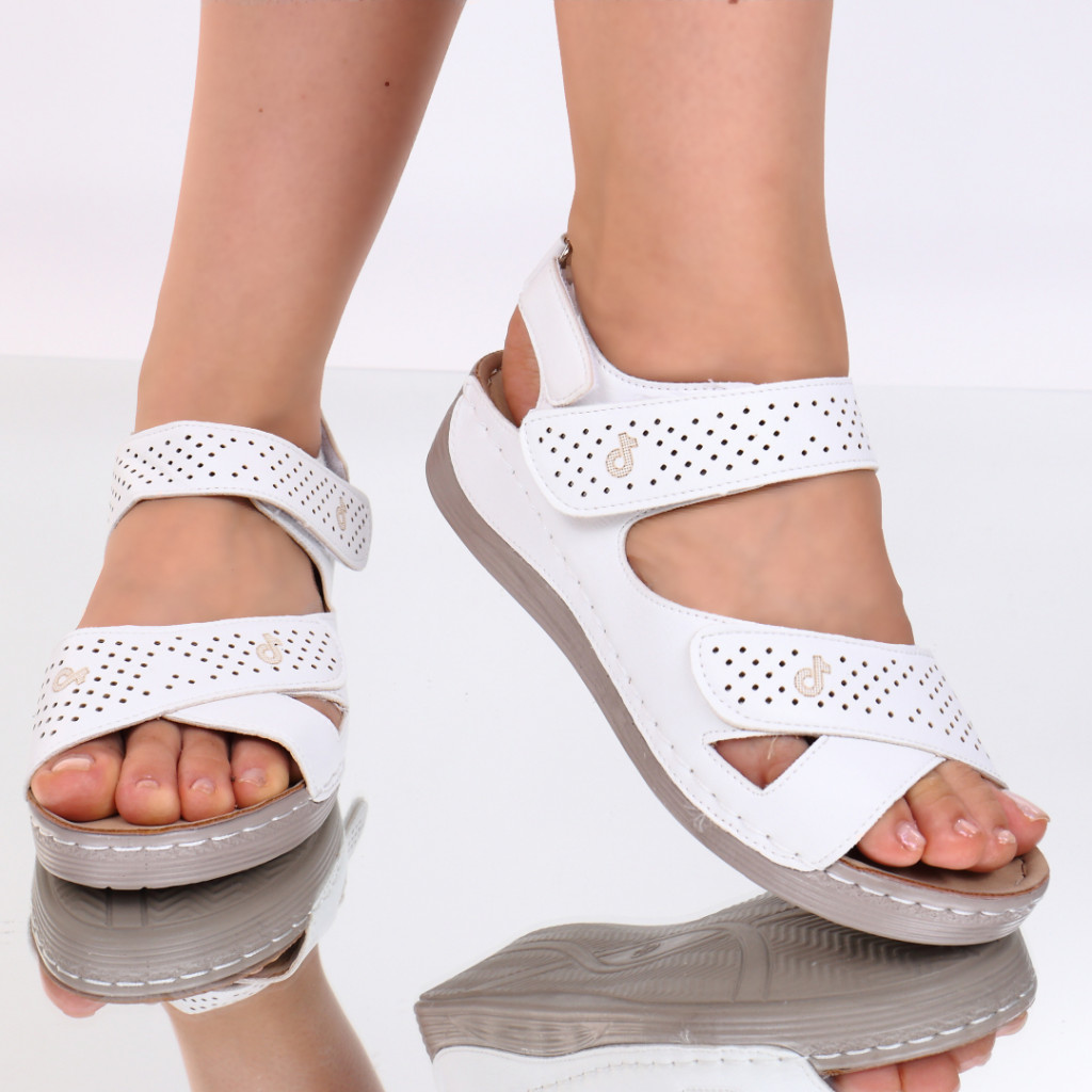 Sandale albe piele ecologica Toka