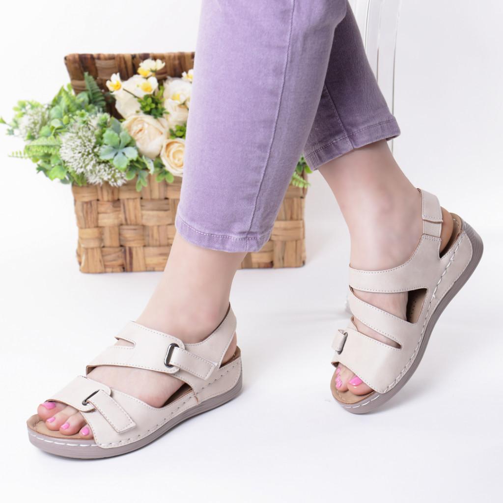 Sandale crem piele ecologica Abana