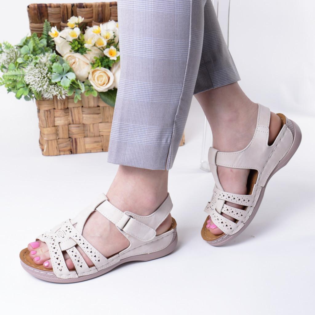 Sandale crem piele ecologica Ziva