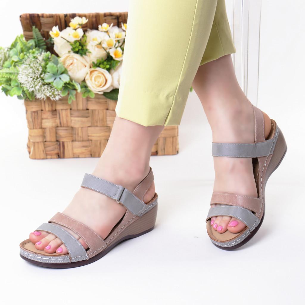 Sandale gri cu roz piele ecologica Adiva