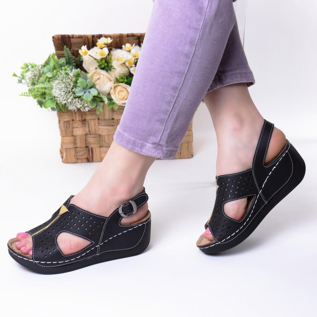 Sandale negre piele ecologica Liora