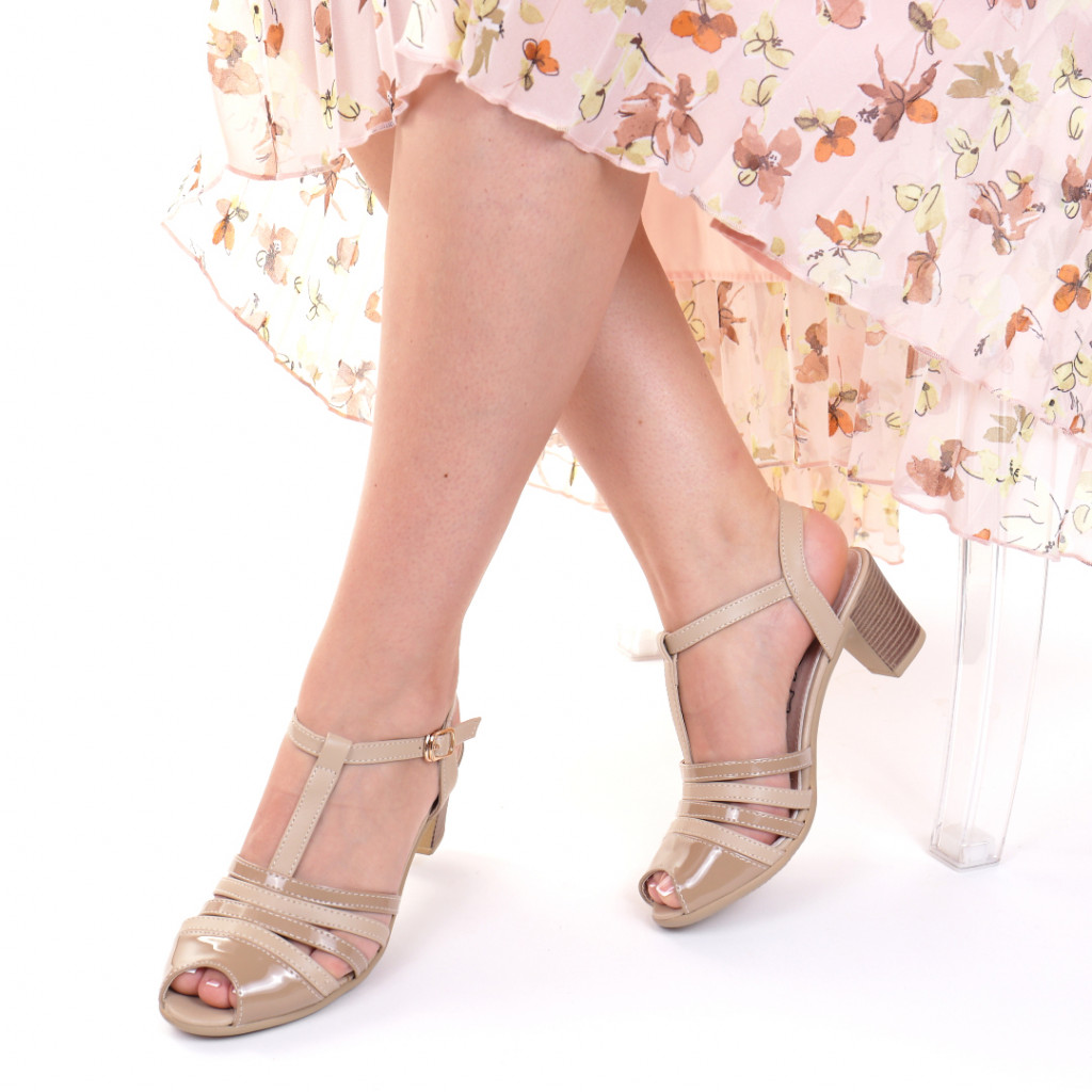 Sandale piele ecologica bej Hanna