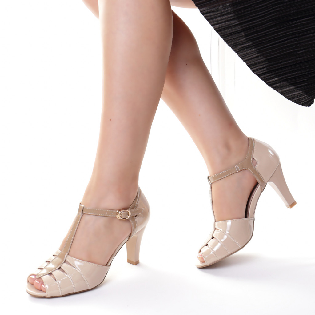 Sandale piele ecologica bej Isolda