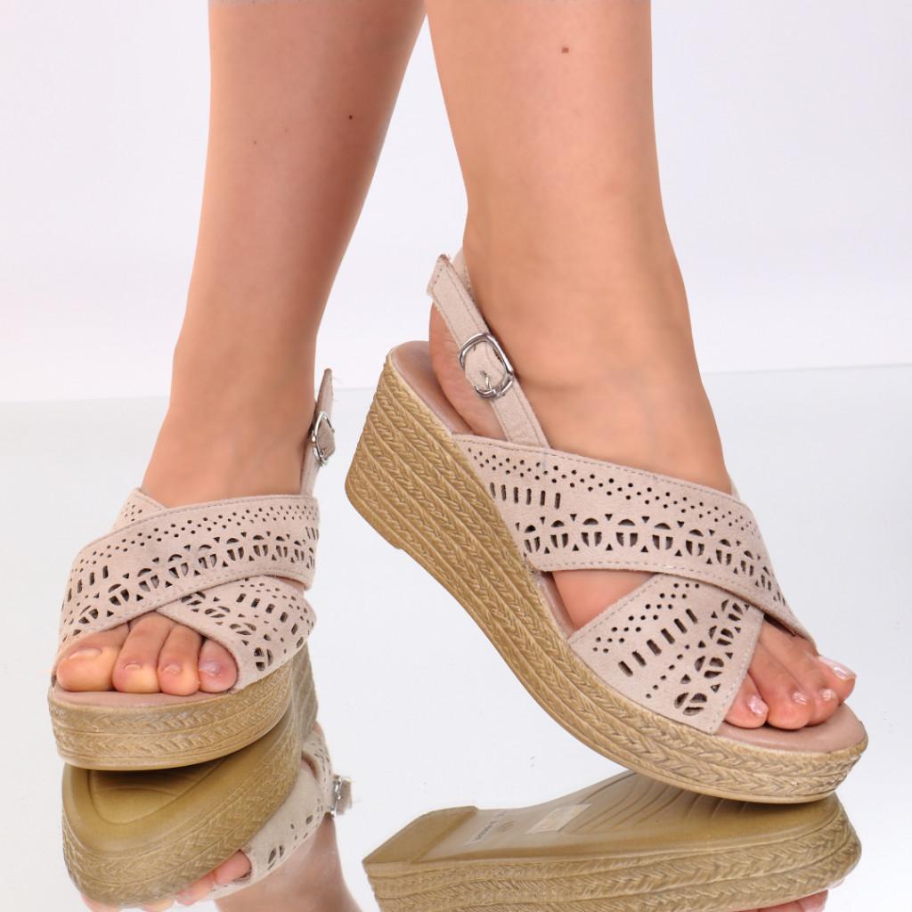 Sandale piele ecologica bej Tamera
