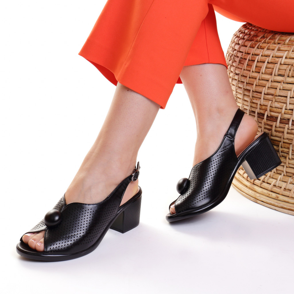 Sandale piele ecologica negre Bethania