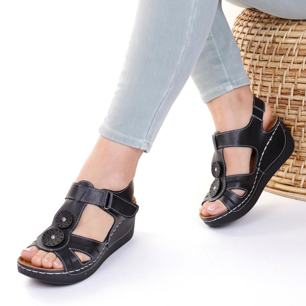 Sandale piele ecologica negre Costelia