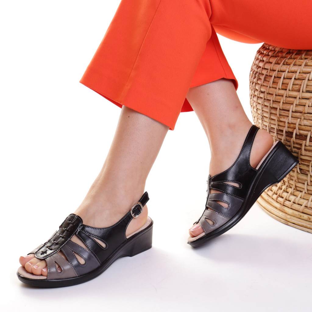 Sandale piele ecologica negre Gala