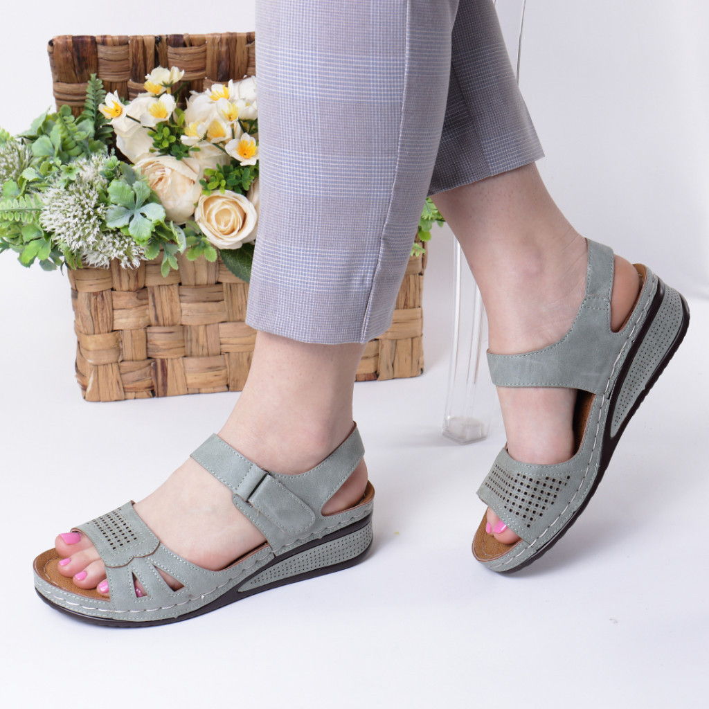 Sandale verde piele ecologica Verana