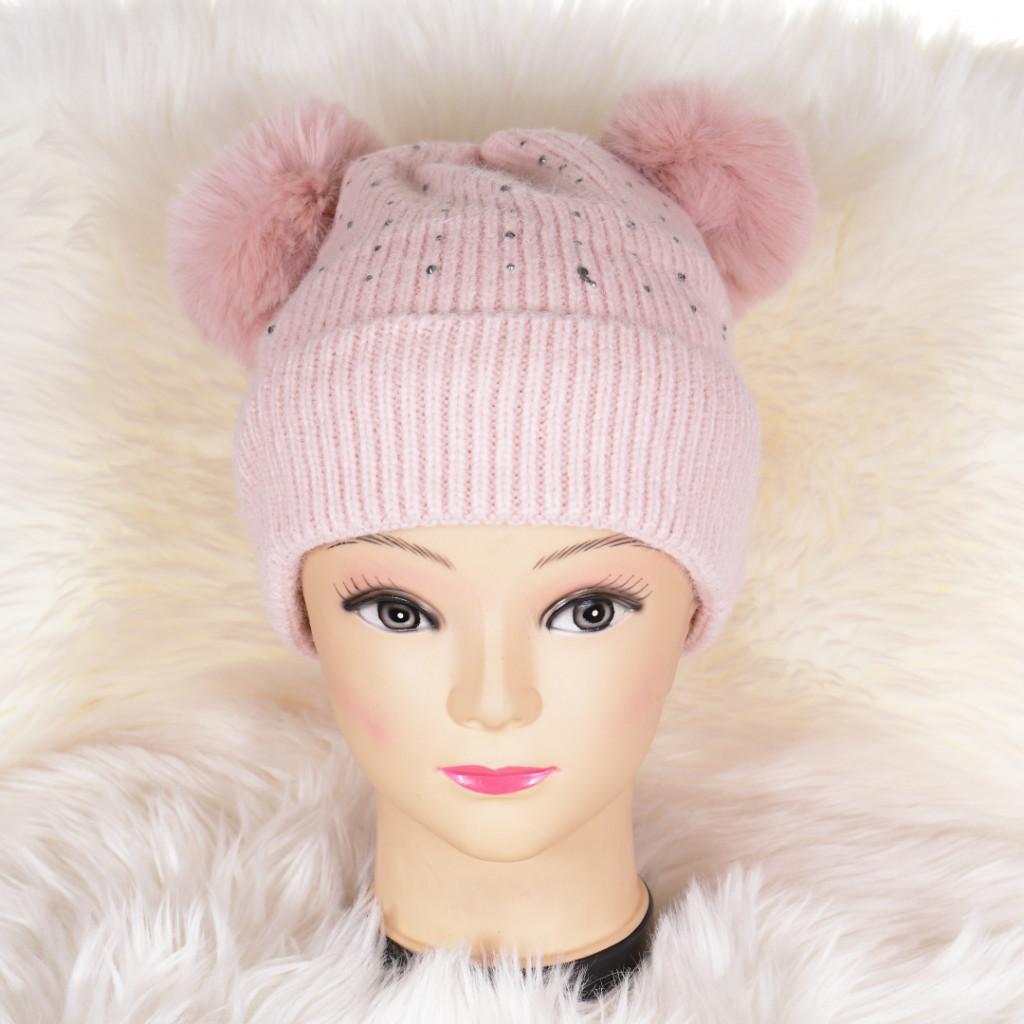 Caciula roz cu mot cu urechi Pani
