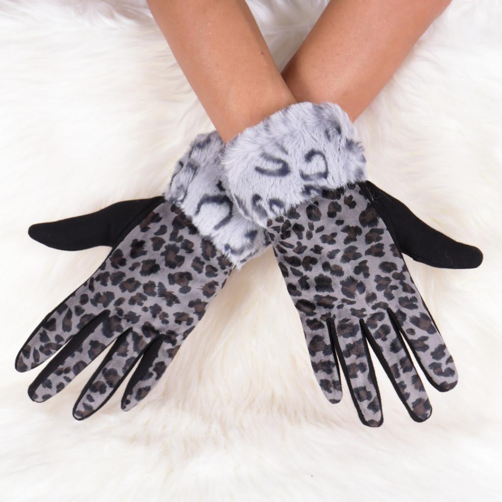 Manusi cu imprimeu leopard gri Galla