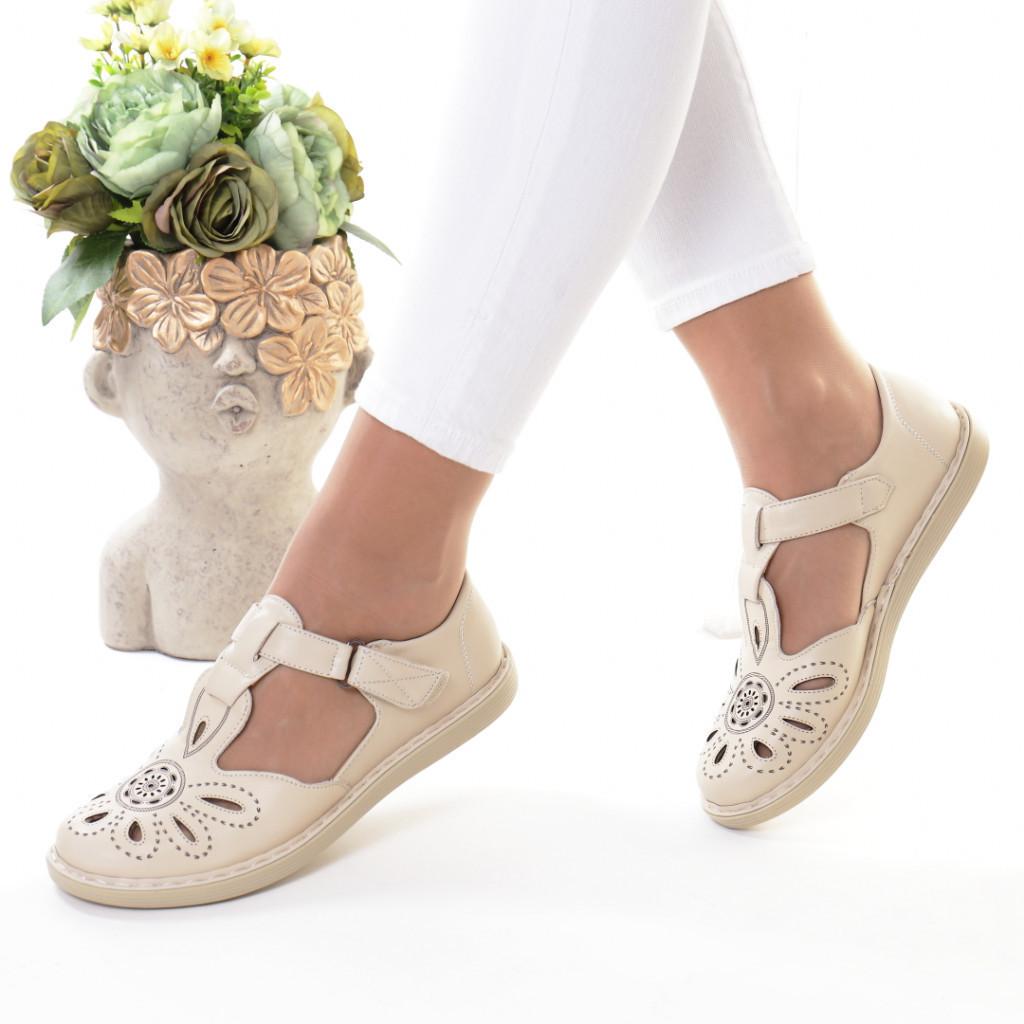 Pantofi bej piele ecologica Erdonia