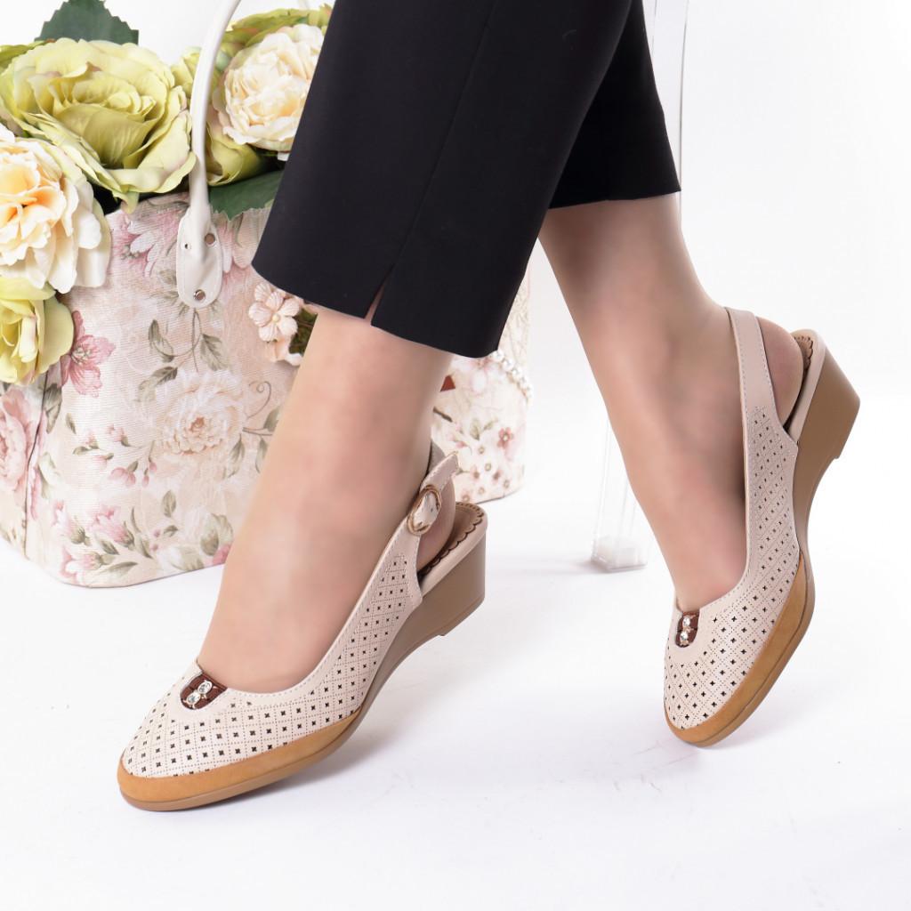 Pantofi bej piele ecologica Nazika