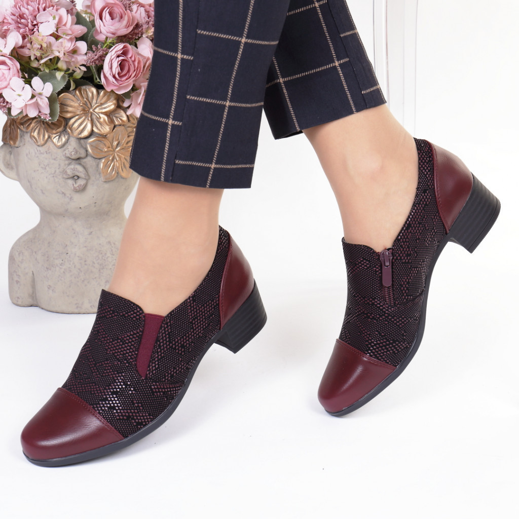 Pantofi bordo piele ecologica Yanela