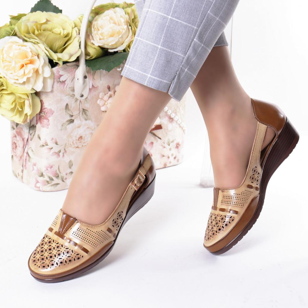 Pantofi camel piele ecologica Filiza
