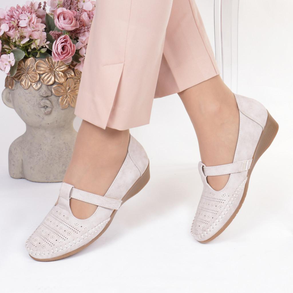 Pantofi crem piele ecologica Casandra