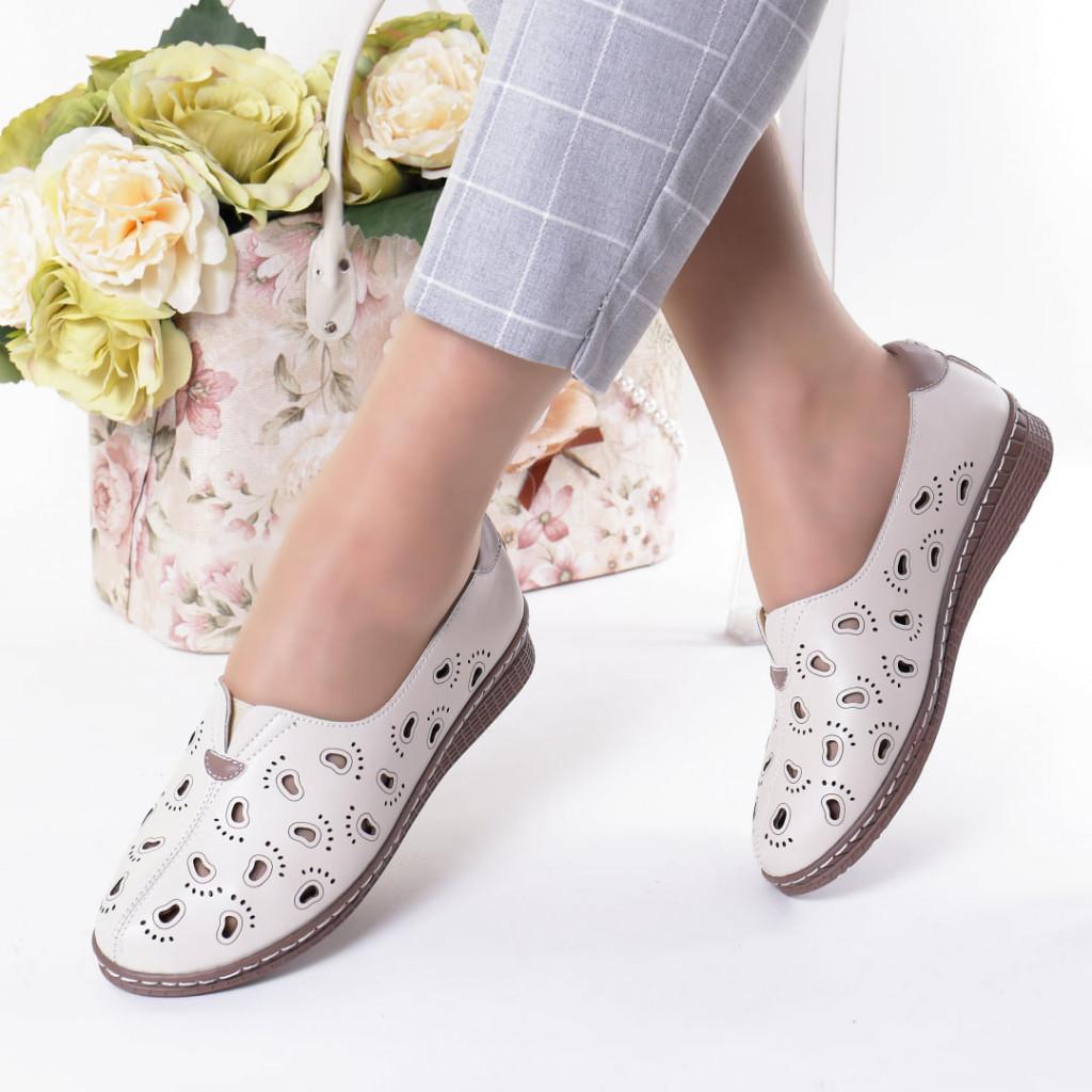 Pantofi crem piele ecologica Zelma
