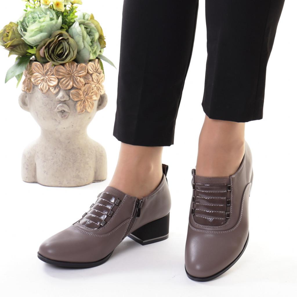 Pantofi gri piele ecologica Rosalva