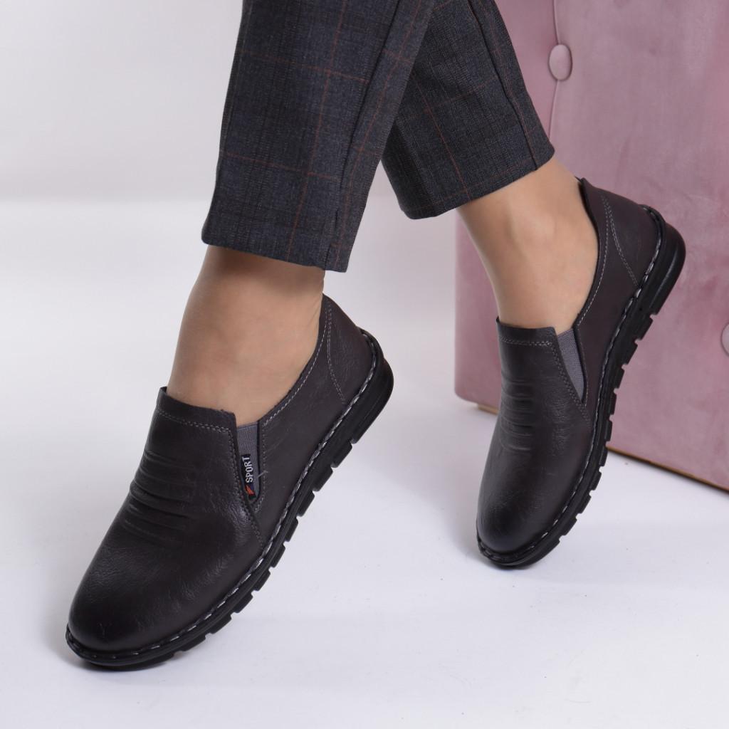 Pantofi gri piele ecologica Vasila