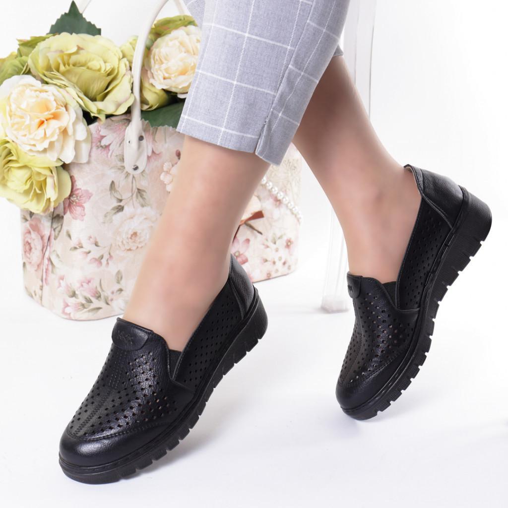 Pantofi negri piele ecologica Handa