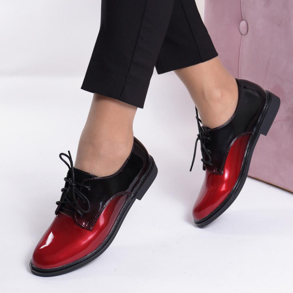 Pantofi negru cu rosu piele ecologica lacuita Okena