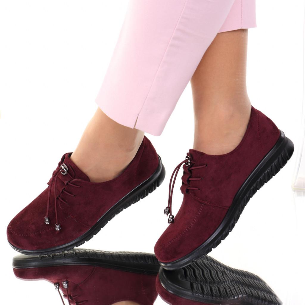 Pantofi piele ecologica intoarsa bordo Vela