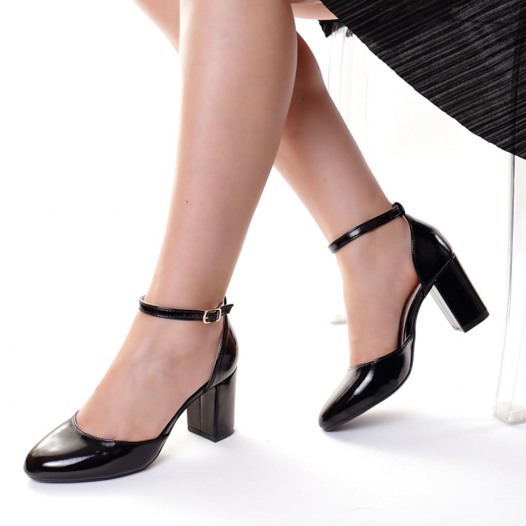 Pantofi piele ecologica negre Dominika