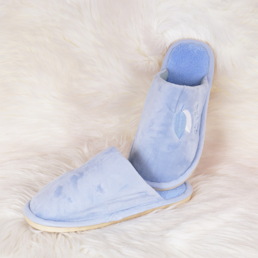 Papuci de casa albastrii cu frunze Nives