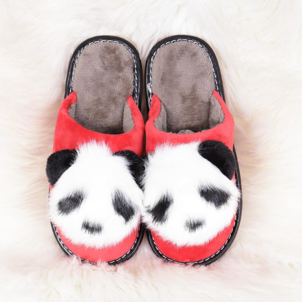 Papuci de casa cu panda rosii Linzi