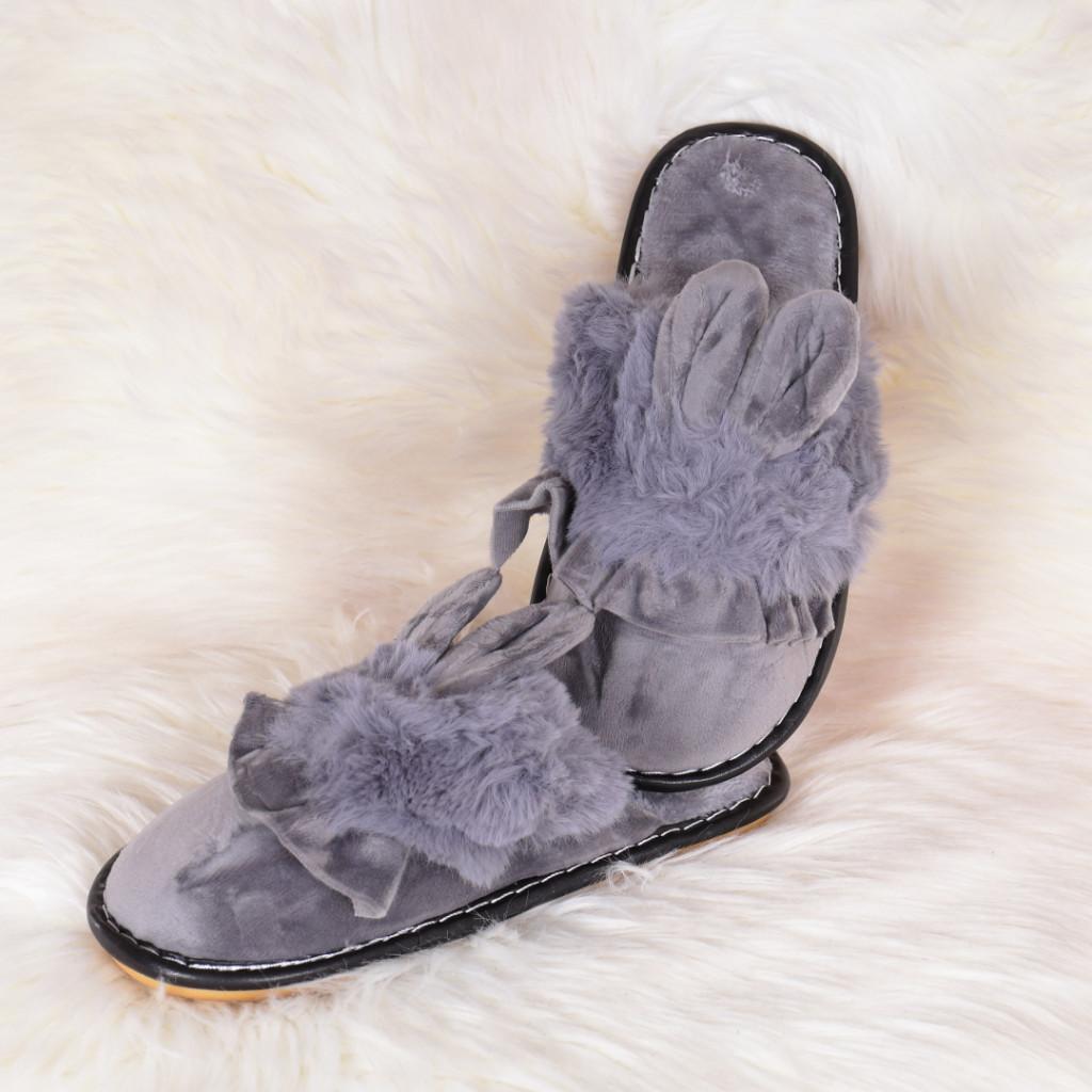 Papuci de casa gri cu iepuras Landa