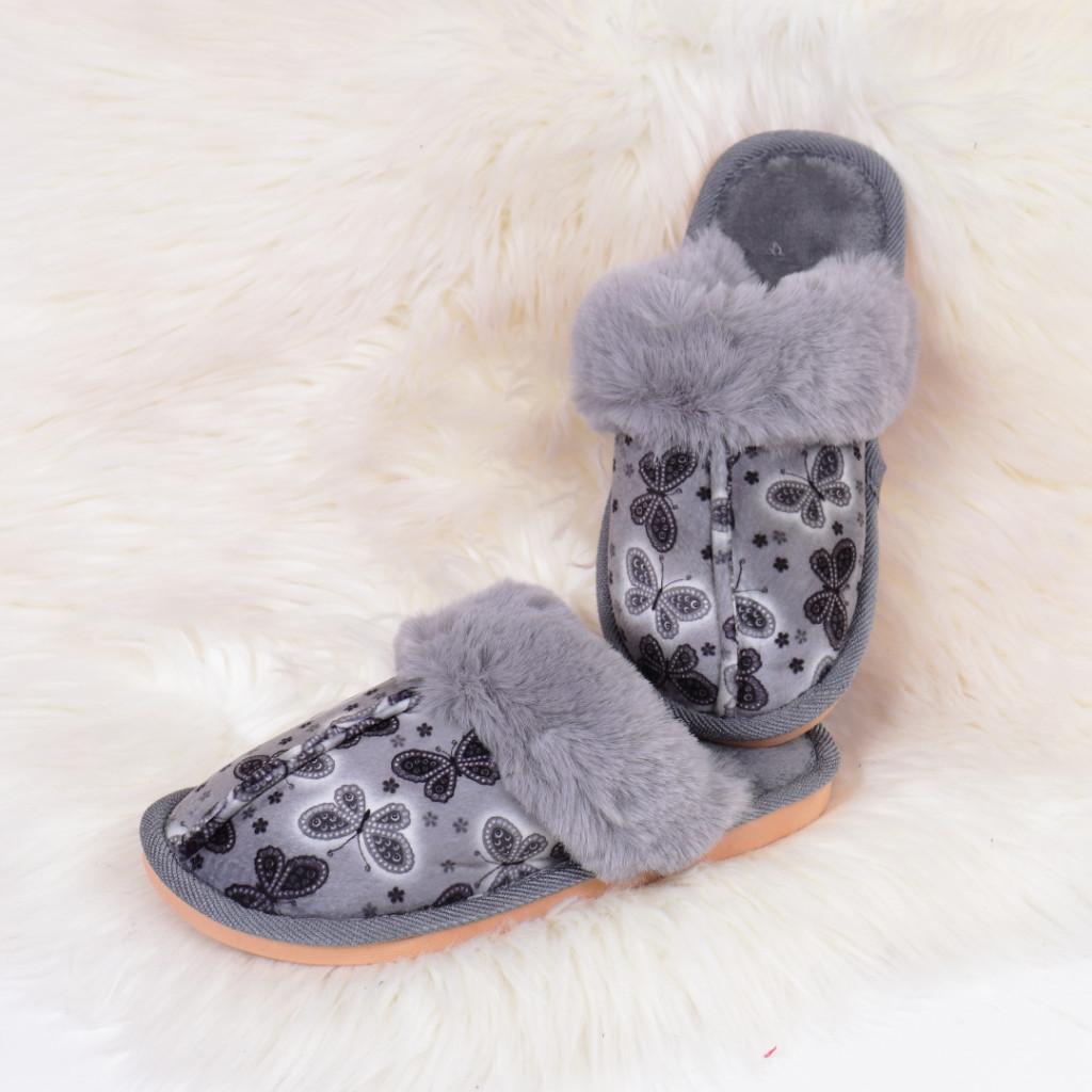 Papuci de casa gri Daliana