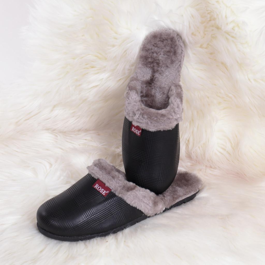Papuci de casa negri Rose