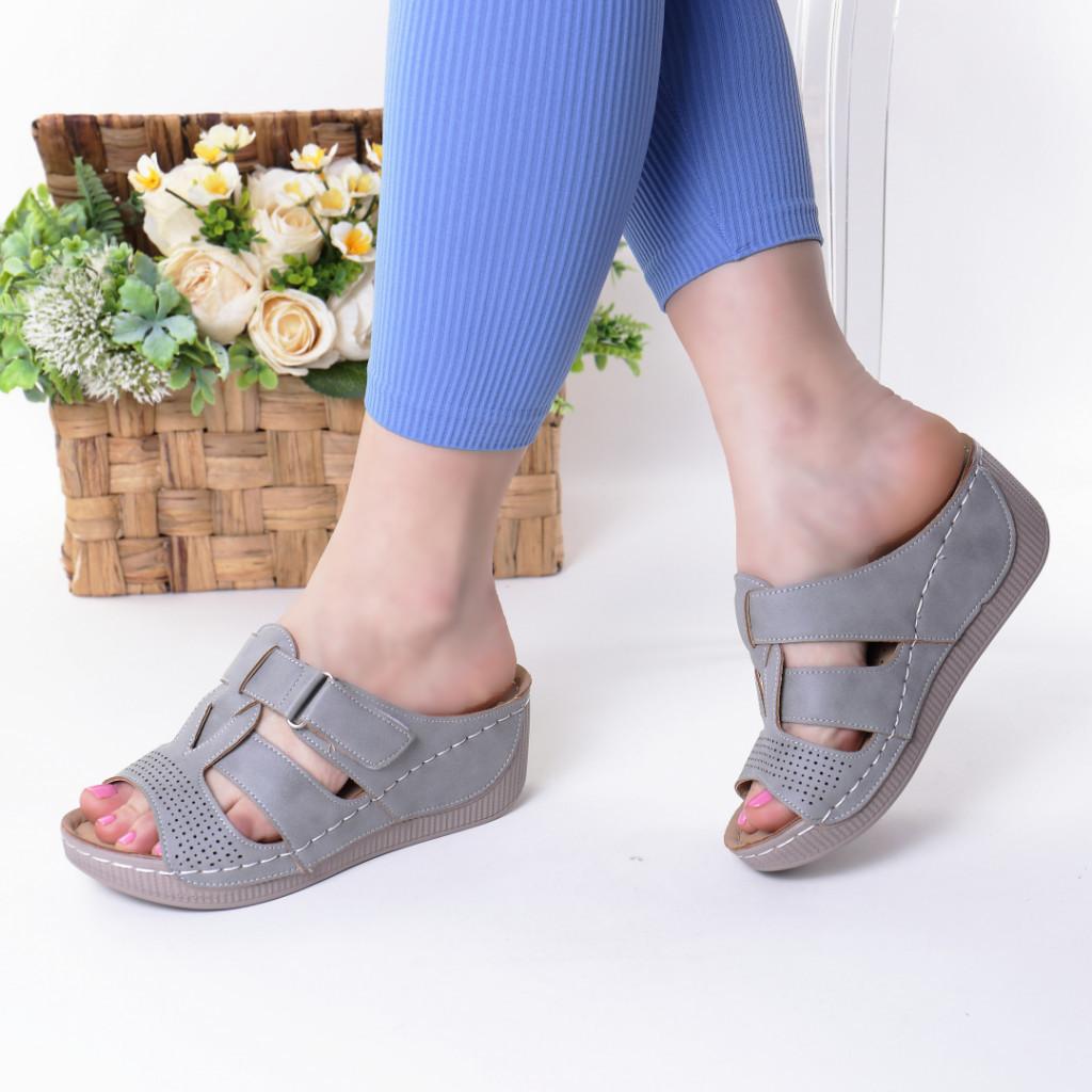 Papuci gri piele ecologica Devira