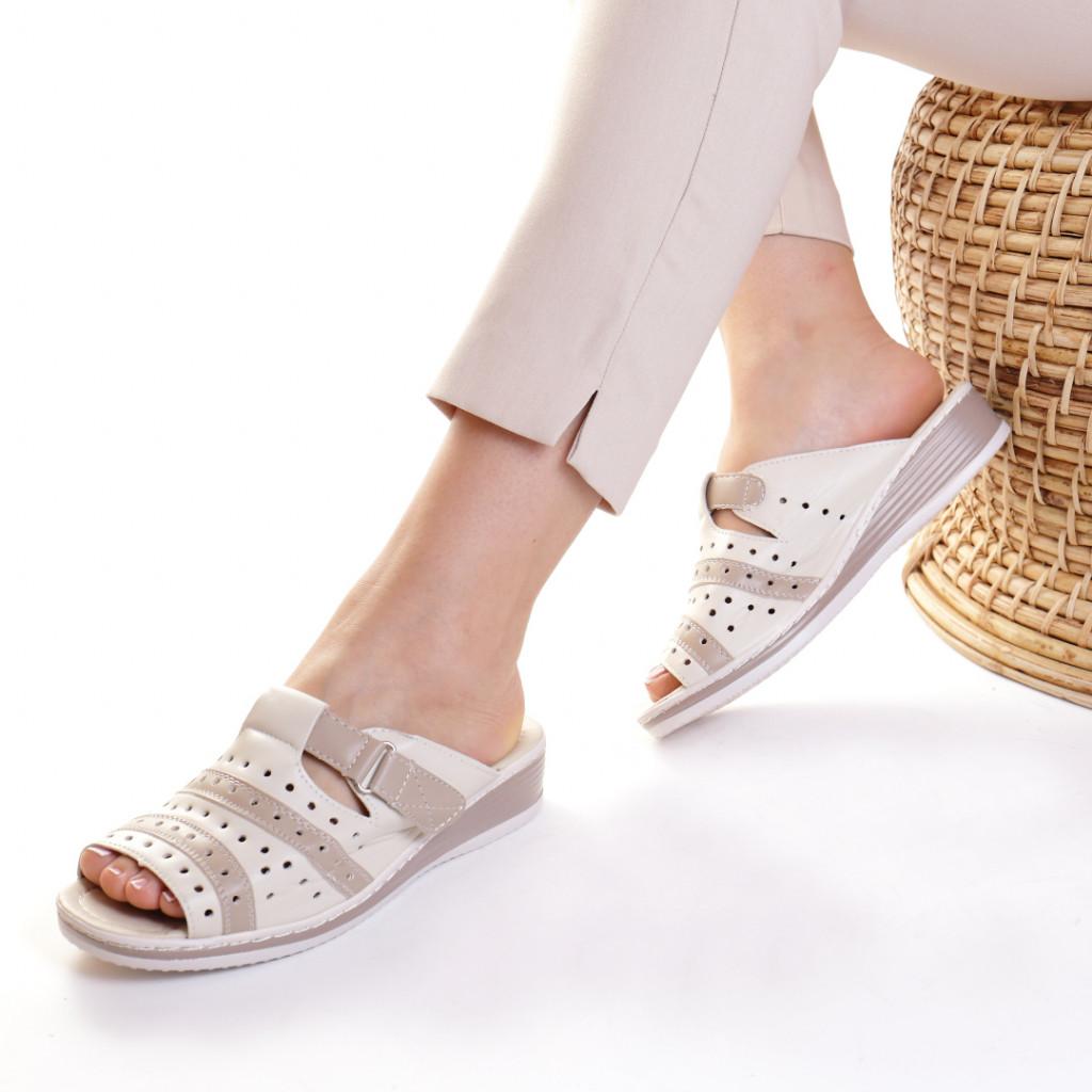 Papuci piele ecologica bej Siponia