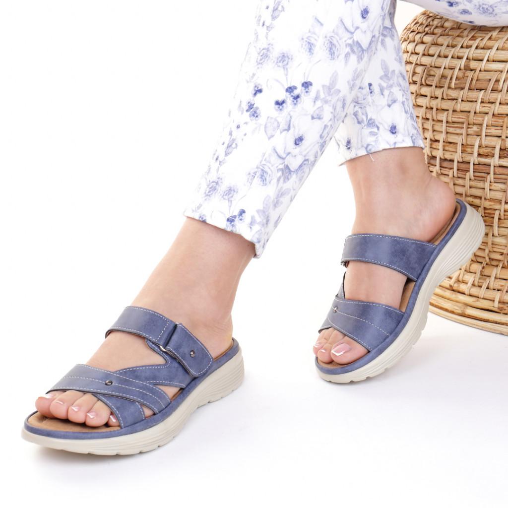 Papuci piele ecologica bleumarin Dionisa