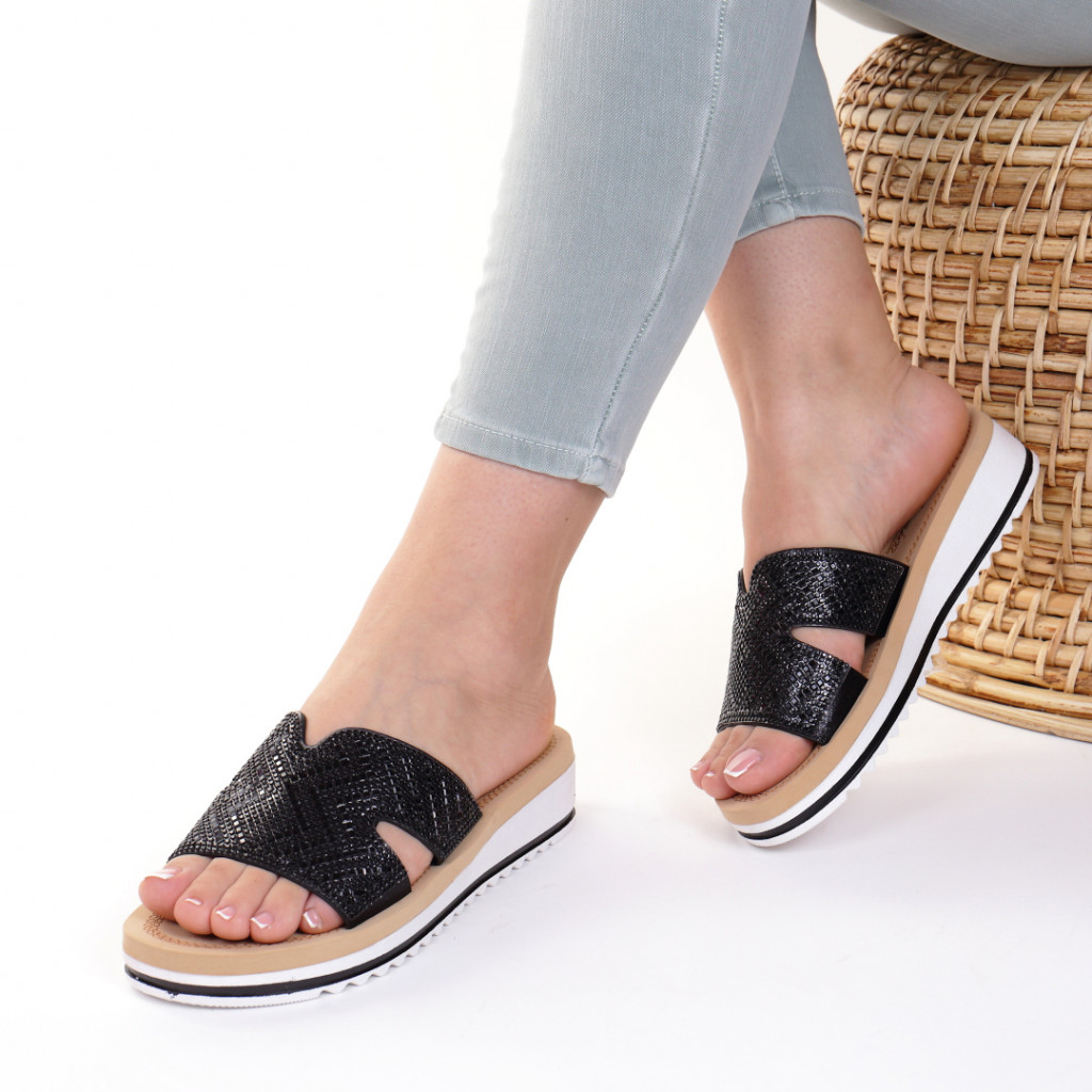 Papuci piele ecologica negri Iordana