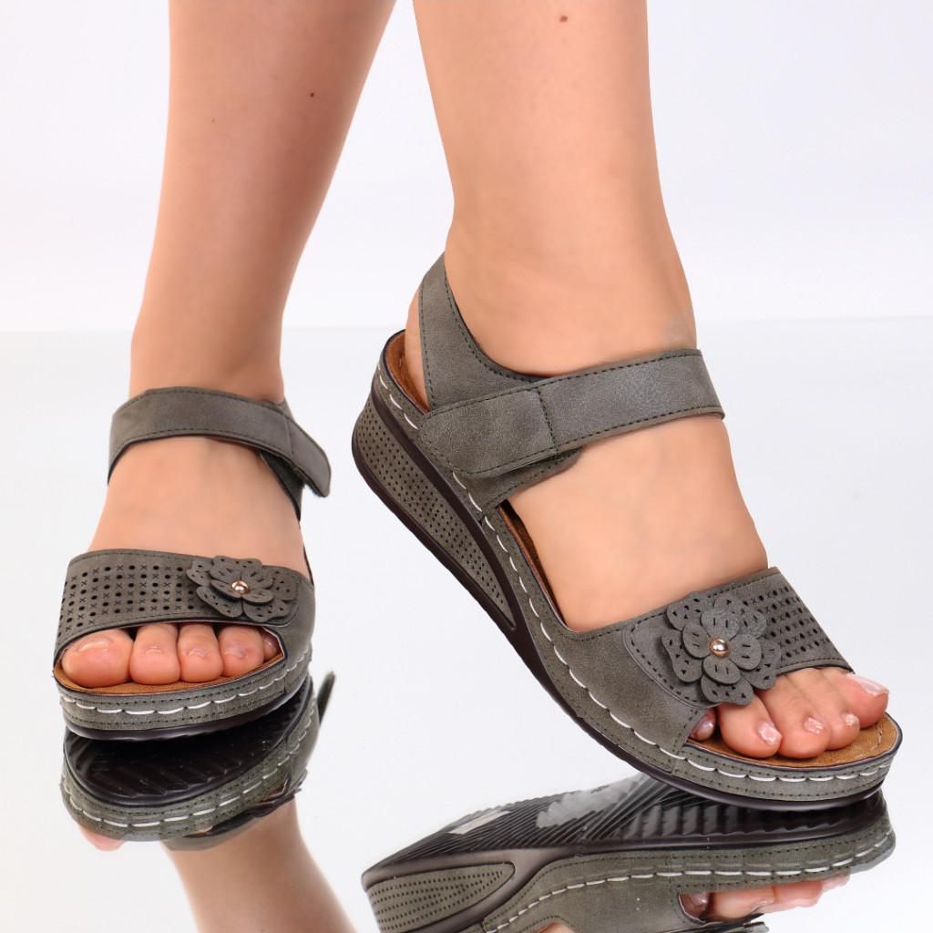 Sandale kaki piele ecologica Nuna