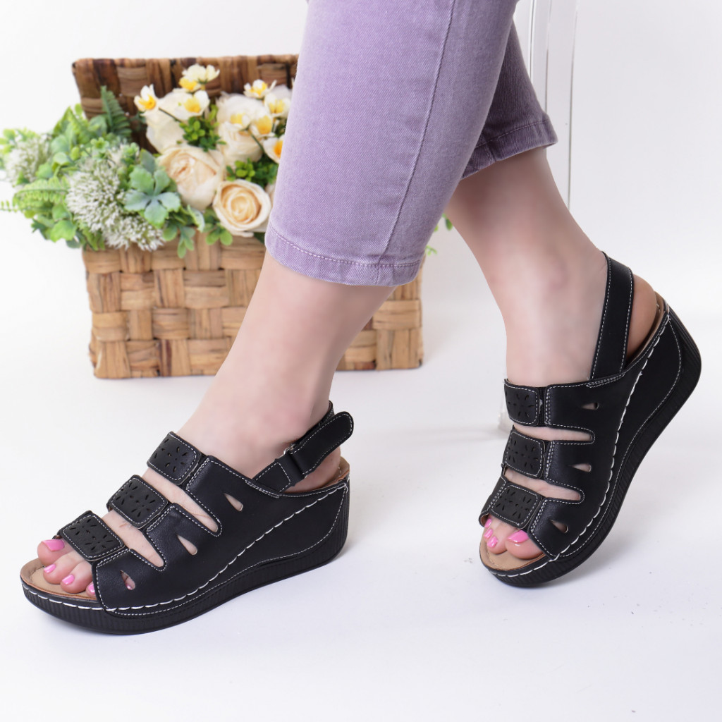 Sandale negre piele ecologica Zemira